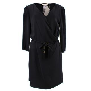 Vanessa Bruno Black Crepe Dress with Braided Belt