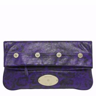 Mulberry Mitzy Clutch in Grape Leopard Printed Shiny Leather