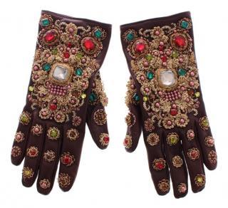 Dolce & Gabbana Brown leather embellished baroque gloves