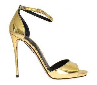 Dolce & Gabbana Gold leather stiletto sandals