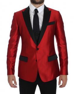 Dolce & Gabbana Red & Black 2 piece silk blazer/smoking jacket