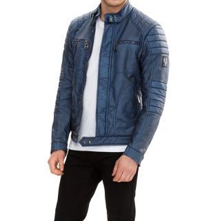 Belstaff Weybridge Jacket in Blue Rubberised Jersey RRP �550