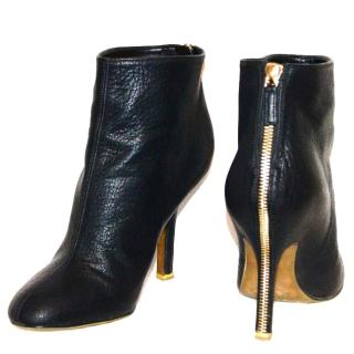 Stella McCartney black ankle boots with gold zip