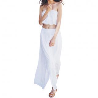 Pampelone white cotton skirt & top