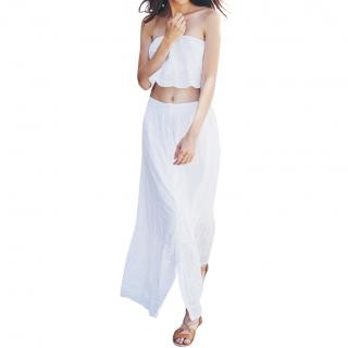 Pampelone white cotton skirt & top
