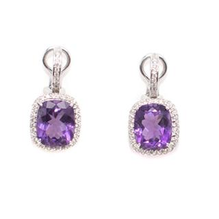 Bespoke  Fine Quality Amethyst and Diamonds Pendant Earrings