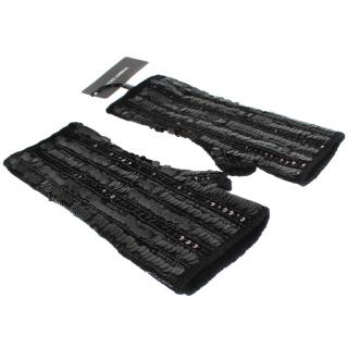 Dolce & Gabbana Black cashmere sequinned gloves/wristlets