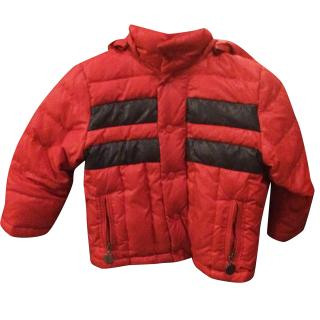 Moncler kids jacket with fur trimmed hood