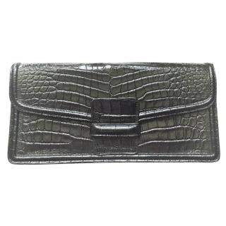 Dries Van Noten black leather clutch