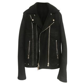 BALMAIN black suede/denim Jacket