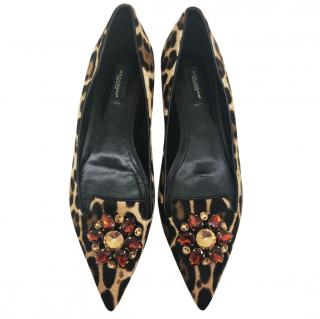 Dolce & Gabbana real fur crystal flats