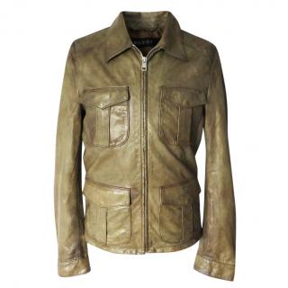 Gucci leather military style field jacket