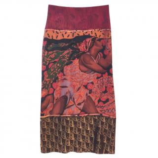 Jean Paul Gaultier printed silk pencil skirt