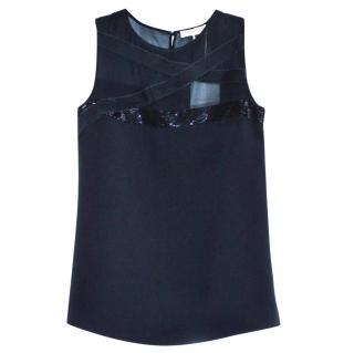 Emilio Pucci black beaded silk top