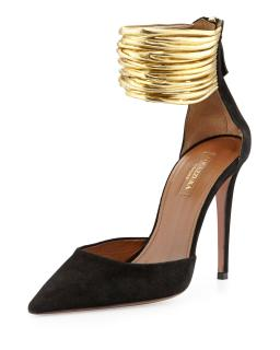 Aquazzura gold ankle cuff pumps