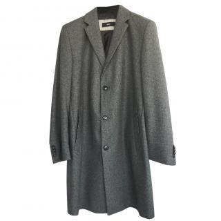 Hugo Boss men's grey plaid coat