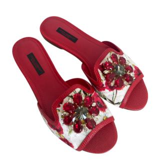 Dolce & Gabbana Red floral crystal ciabattas shoes