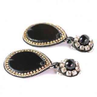 Ranjana Khan Onyx Teardrop Earrings
