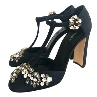 Dolce & Gabbana black crystal heels shoes