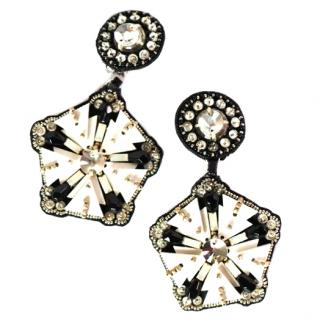 Ranjana Khan Ivory Perspex Pentagon  Earrings