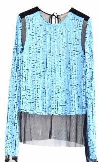 Emilio Pucci runway sky blue sequined tulle top