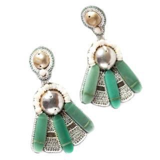 Ranjana Khan Fiorella FanSemi Precious/leather Earrings