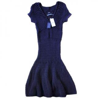 RALPH LAUREN XS-S Navy Blue Hand Knit Dress