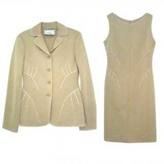 MOSCHINO Camel Wool Dress and Jacket Suit