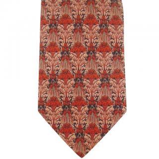 Revillion Paris Art Deco Nouveau Inspired Floral Silk Neck Tie