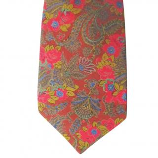 Jacques Fath Paris Carmel Brown Bright Floral Silk Neck Tie