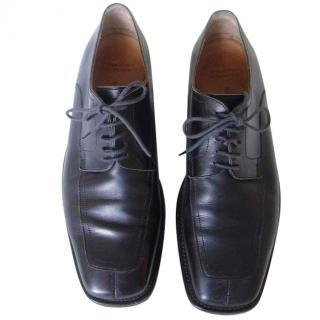 Hermes Men's Black Leather Lace Up Shoes