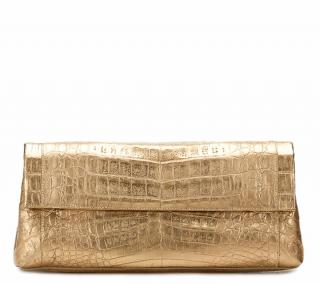 Nancy Gonzalez Gold Crocodile Clutch