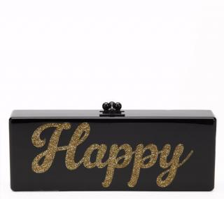 Edie Parker Black Glittered Acrylic Happy Box Clutch