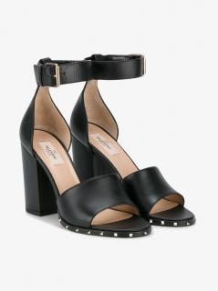 Valentino Garavani Black Leather Block Heel