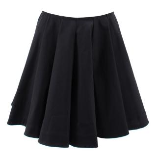 Alaia Black Pleated A-Line Skirt