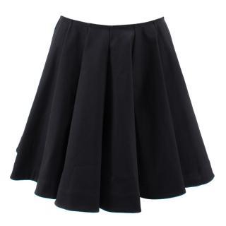 Alaia Black Pleated A-Line Skirt