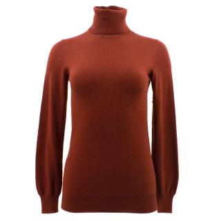 Loro Piana Burnt Orange Roll Neck Jumper