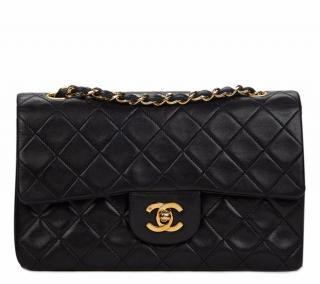 Chanel Small Black Quilted Lambskin Vintage Double Flap Bag