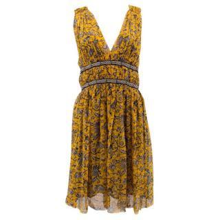 Isabel Marant Etoile Mustard Floral Pattern Dress