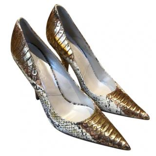 Dior Gold and Beige Snakeskin Heels
