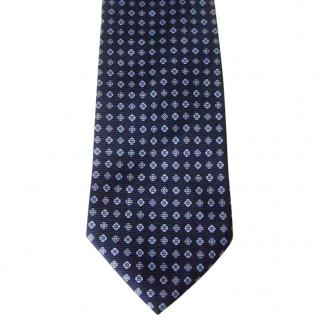 Balenciaga Paris Navy Blue Floral Silk Neck Tie