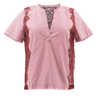 Sandro Red and White Striped Lace Top