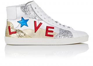 Saint Laurent Glitter High Top Love Sneakers