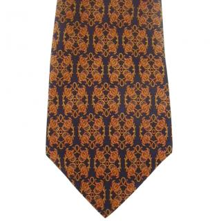 Salvatore Ferragamo Navy and Gold Silk Tie