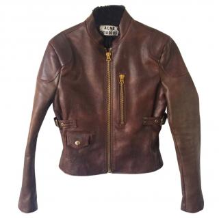 Acne Studios Mabel Brown Shearling Leather Jacket