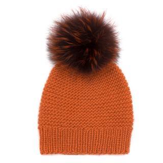 Birger Christensen Pumpkin Woven Hat with Furry Pom