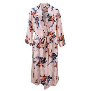 Katie Eary Fish-Print Silk-Satin Dressing Gown