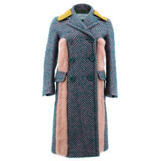 Prada Striped Boucle Fur Trimmed Coat
