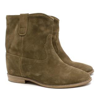 Isabel Marant Etoile Crisi Khaki Ankle Boots