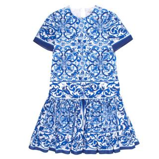 Dolce & Gabbana Blue Majolica Girls Dress